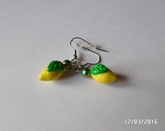 Yellow lemon earrings in polymer clay