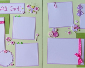 Premade 12x12 Scrapbook Layout Pages - girl layout - PRINCESS -- She's ALL GIRL!  - baby girl, kid girl, butterfly, ladybug, castle, fairy