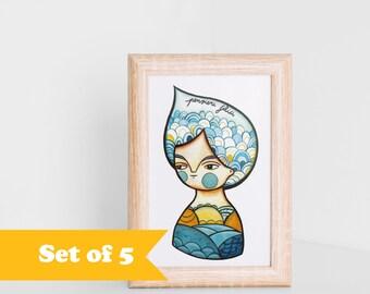 Summer postcards blue girl portrait, set of 5