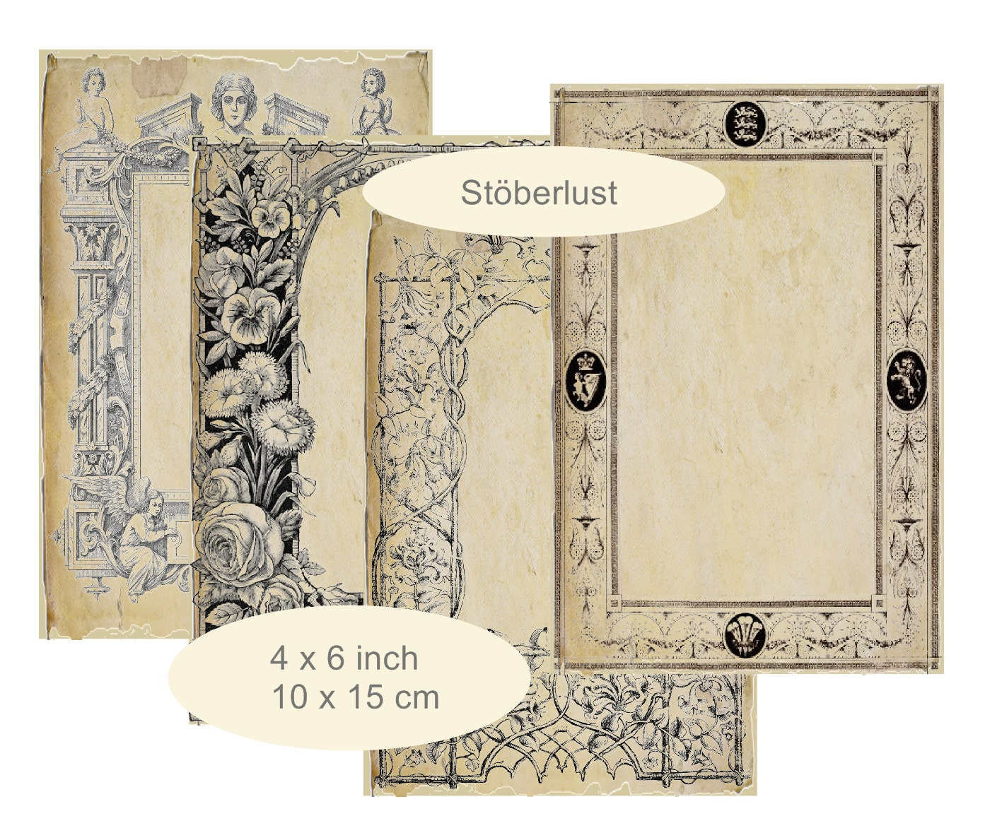 4 shabby chic Backgrounds with vintage ornament frames 4 x 6 inch ...