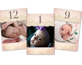 Baptismn or Christening Double sided Photo Table Numbers