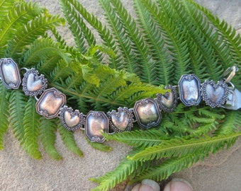 Victorian hearts and squares Bracelet charm bracelet  valentine' s gift  Valentine's jewelry