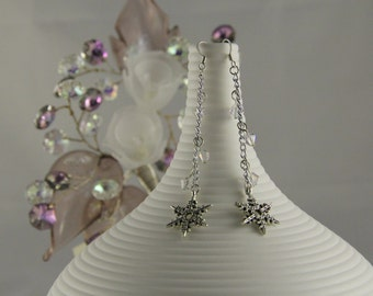 Winter snowflake and crystal earrings