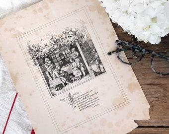 """1850s German Engraving Etching Illustration - Fürs Haus im Winter 1858/1859 #2 """"Lass auch dies"""" by Ludwig Richter"""