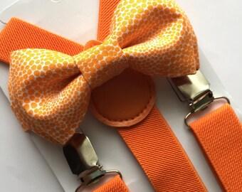 Orange Suspenders/Orange Bow Tie. Kids Orange Suspenders Set.