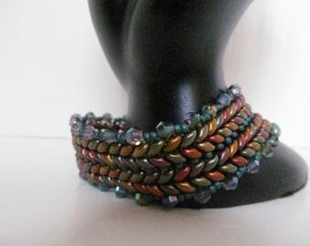 Herringbone bracelet ,violet rainbow  bracelet , superduo beaded herringbone bracelet , metallic herringbone bracelet ,swarovski crystals