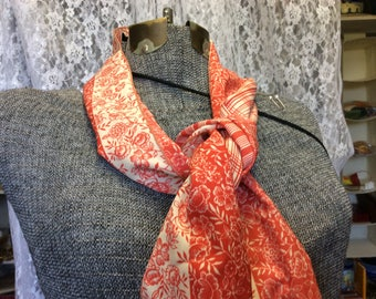 Vintage Red and Cream fashion scarf, Flowers and stripes, Fashion, Neck Scarf