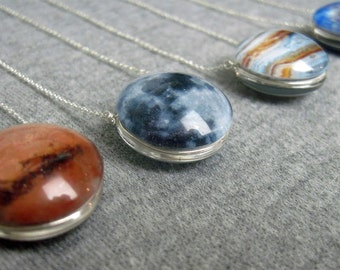 Floating Worlds Double Sided Sterling Silver Necklace, Your choice of Planet, Sun, Moon, or Dwarf Planet