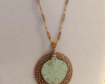 Mykonos Greek Patina and Antique Brass Leaf Necklace