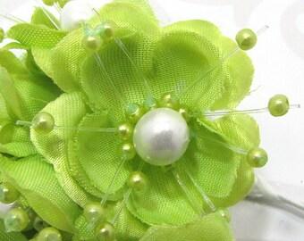 Satin Ribbon Flower Embellishments in Green