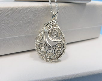 Mother in Law Gift Sterling Silver Woven Wire Pendant Unique Wire Wrapped Necklace Artisan Crafted Artistic Handmade Jewelry Wife Present