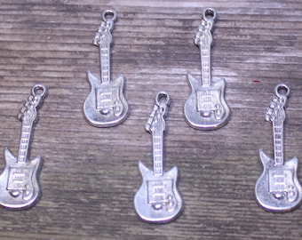 Set of 5 Silver Guitar Charms, Silver Electric Guitar Charm, Rock Guitar Pendant, Small Guitar Charm