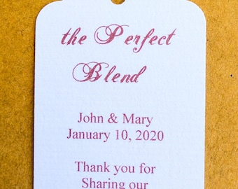 Perfect Blend Tags - 50 Wedding Tags - Baby Shower - Personalized Tags