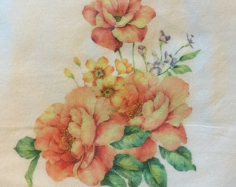 100 % Cotton Flour Sack Kitchen Towel  Mixed Flowers   Gifts Under 10 Dollars Rustic