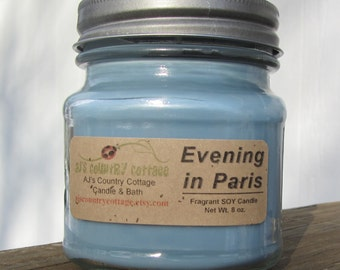 PARIS EVENING SOY Candle - Highly Scented - amber, flowers, fruit, vanilla, lavender candles
