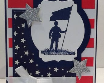 Handmade Patriotic Card - Fourth of July Card - Hand Stamped Military Card - Card with Soldier - Stars and Stripes Embellished Card