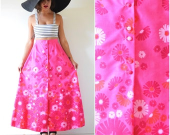 Vintage 60s 70s Vibrant Flamingo Pink High Waisted Floral Screen Printed A Line Cotton Maxi Skirt (size small, medium)