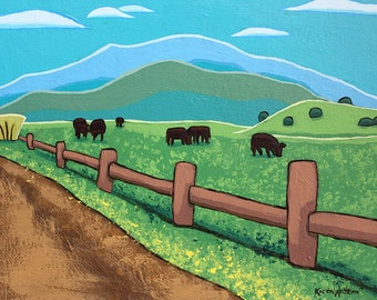 Acrylic Original Colorado Landscape Painting Wall Art on Canvas - Drive - Graphic Abstract Cattle Country Landscape Contemporary Art
