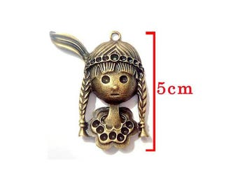 Bronze Indian pendant. A personalized with Rhinestones or pearls.  For jewelry making.