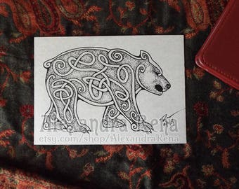 Celtic Knotwork Bear Art Print - 5x7