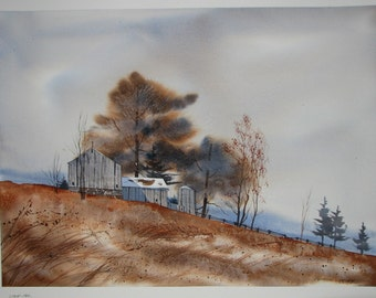 Barn watercolor painting, rustic barn, old barn, winter landscape painting, signed original watercolor painting, #112