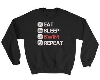 Distressed Eat Sleep Swim Repeat Sweatshirt, swim team, swim sweatshirt, gift for swimmer, swimmer gift, swimmer sweatshirt, loves swimming