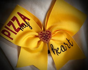 3D CHEER BOW~PIZZA My Heart Cheer Bow with Glitter Text, Ask me to design something specific for you today!!