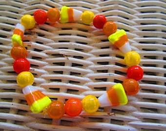 370  Candy Corn 8mm orange mix handmade beaded bracelet-women-men-teen-children
