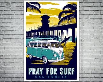 pray for surf california vintage retro surf poster