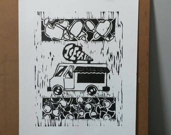 Ice Cream Truck: Black and White Woodcut Print Poster