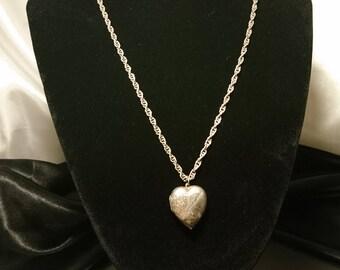 Antique silver heart locket, victorian picture locket necklace