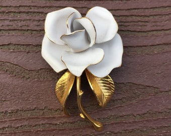 Vintage Jewelry Signed Cerrito Gold Tipped White Rose Flower Pin Brooch