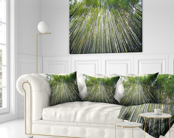 Bamboo forest of Kyoto Japan.' Forest Throw Pillow Insert and Cushion Pillow Cover (CU11176)