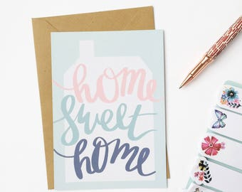 Home Sweet Home - Illustrated Greetings Card - New Home Card - Watercolour