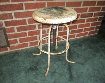 Vintage Industrial 1920s/30s Primitive Heavy Metal Adjustable Stool by A.S. Aloe Company