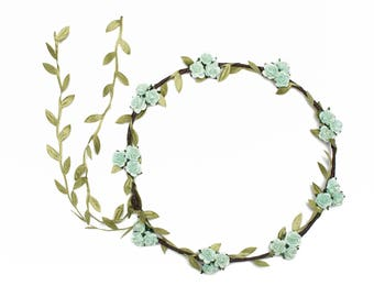 Green Rose Flower Crown, Floral Garland, Rose Headband, Rose Crown, Bridal Hair Wreath, Flower Halo Crown, Flower Girl, Flower Crown Circlet