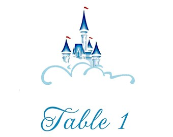 Fairytale Table Numbers, Cinderella Wedding, Castle Table cards, Princess Party Table Numbers, Dreams Come True