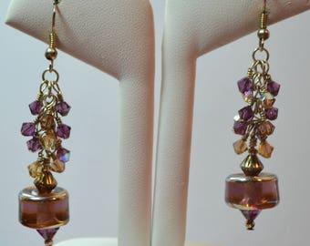 Purple and Topaz Lampwork Glass Bead & Swarovski Earrings