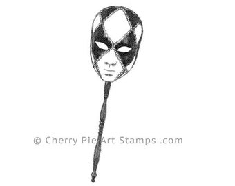 Venetian MASK on a stick nr.1 - Carnival, Mardi Gras- CLiNG RuBBer STAMP L352