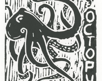 Octopus Linocut