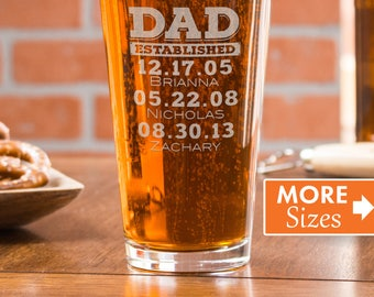 Dad Established Glass, Gift For Dad, Personalized Beer Glass, Custom Pint Glasses, Gift From Wife, Engraved Beer Gifts, Cheers,Dad Est Glass