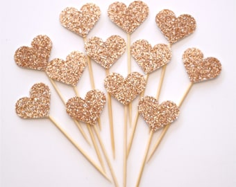 12 Rose Gold Glitter mini heart cupcake toppers