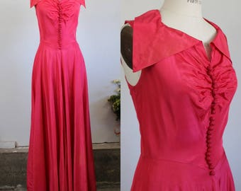 Vintage 1940s Party Dress / New Look Pink Taffeta Gown / Full Length Party Dress / 1940s Formal Dress / Full Circle Skirt / Fit And Flare