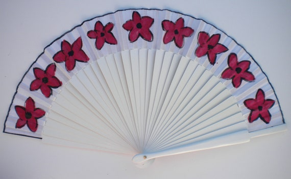 Deep Red Flowers Hand Fan SIZE OPTIONS Wooden Flamenco Handheld fan by Kate Dengra Spain