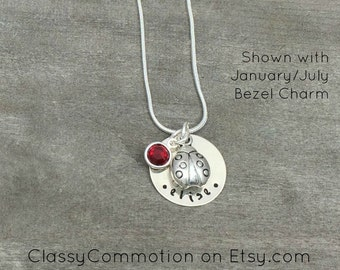Ladybug Necklace with Charm - Hand Stamped Jewelry - Tween Girl