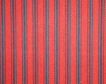 Red And Navy Ticking Stripe Fabric | Stripe Fabric | Cotton Ticking Fabric |  Home Decor Ticking Fabric | 54 Inches Wide