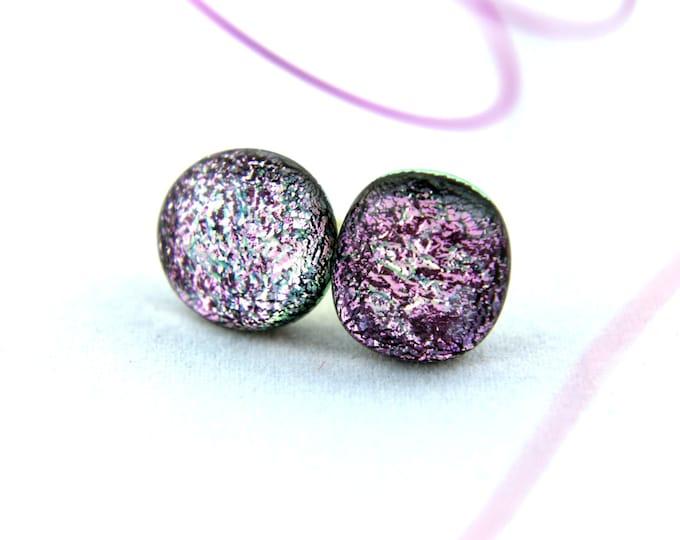 Pink Stud Earrings, Dichroic Fused Glass Earrings, 11mm
