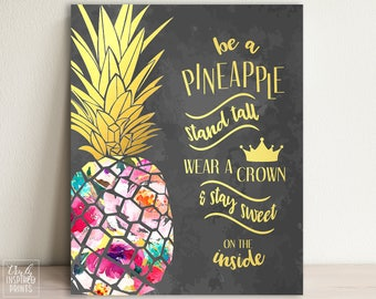 Pineapple Art   Pineapple Quote   Pineapple Printable   Pineapple Home Decor    Pineapple Chalkboard