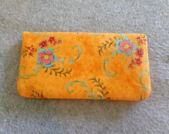 Fabric Checkbook Cover - Orange Floral