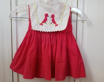 Vintage Handmade Red Doll Dress